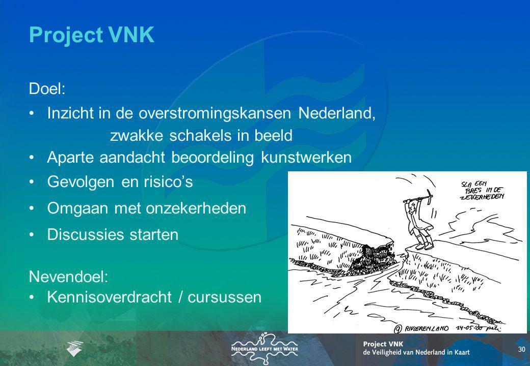 Project VNK Doel: • Inzicht in de overstromingskansen Nederland, zwakke schakels in beeld. • Aparte aandacht beoordeling kunstwerken.