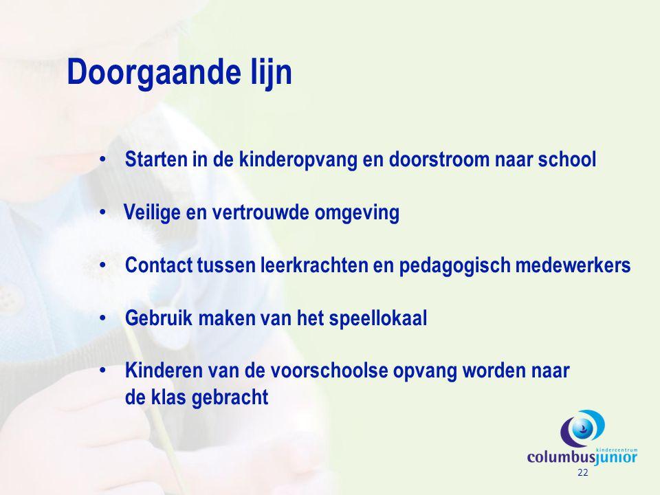 Doorgaande lijn Starten in de kinderopvang en doorstroom naar school