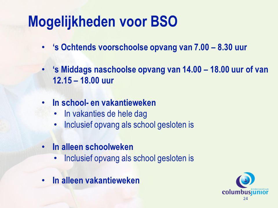 Mogelijkheden voor BSO