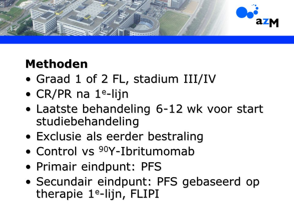 Graad 1 of 2 FL, stadium III/IV CR/PR na 1e-lijn
