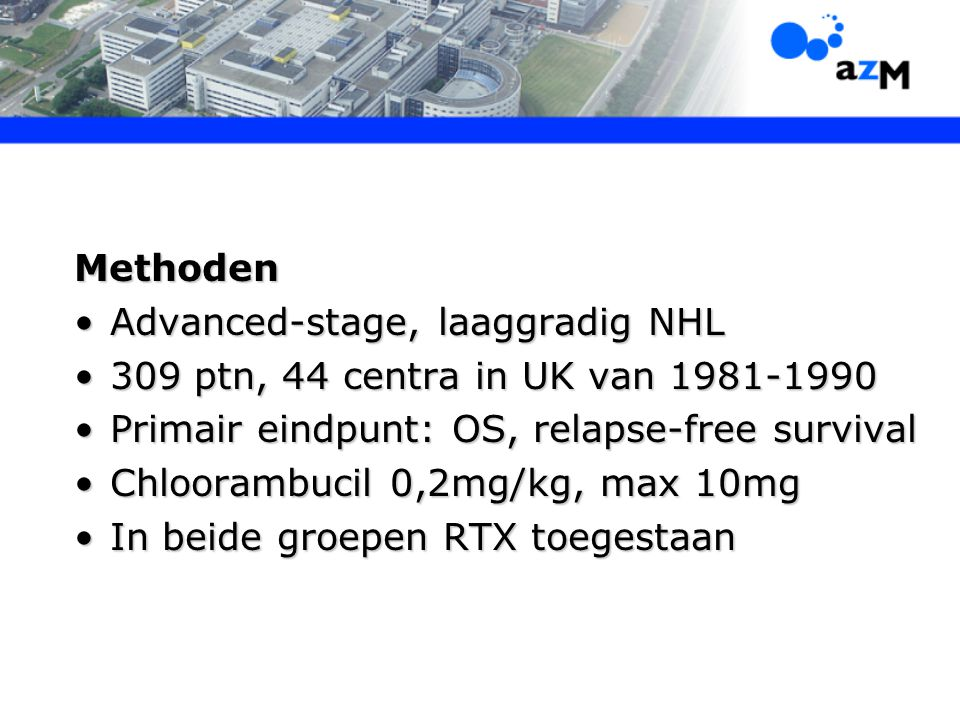 Advanced-stage, laaggradig NHL 309 ptn, 44 centra in UK van