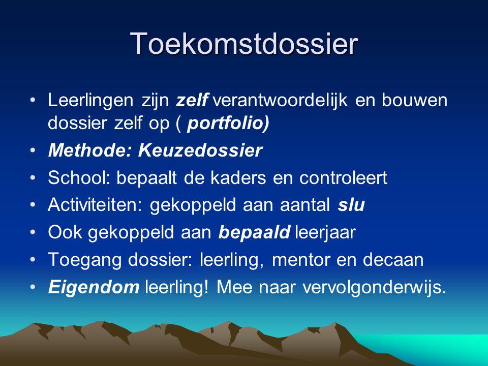Toekomstdossier Leerlingen zijn zelf verantwoordelijk en bouwen dossier zelf op ( portfolio) Methode: Keuzedossier.