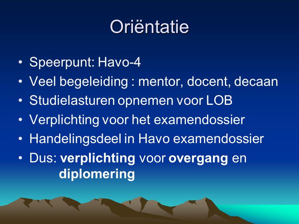 Oriëntatie Speerpunt: Havo-4 Veel begeleiding : mentor, docent, decaan