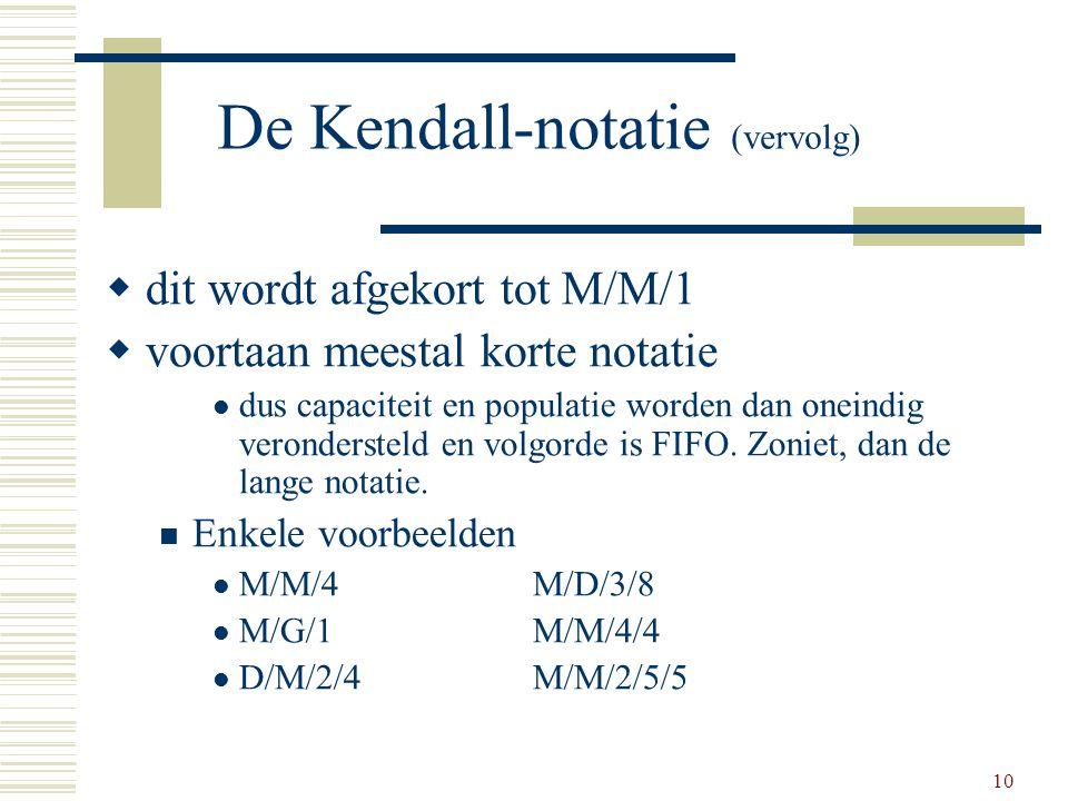 De Kendall-notatie (vervolg)