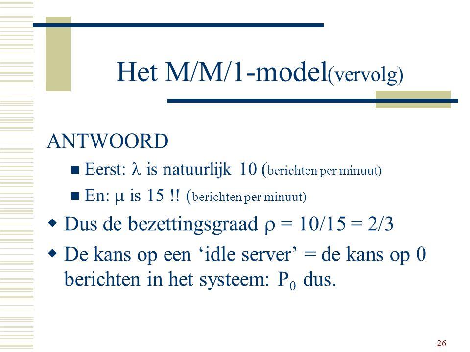 Het M/M/1-model(vervolg)