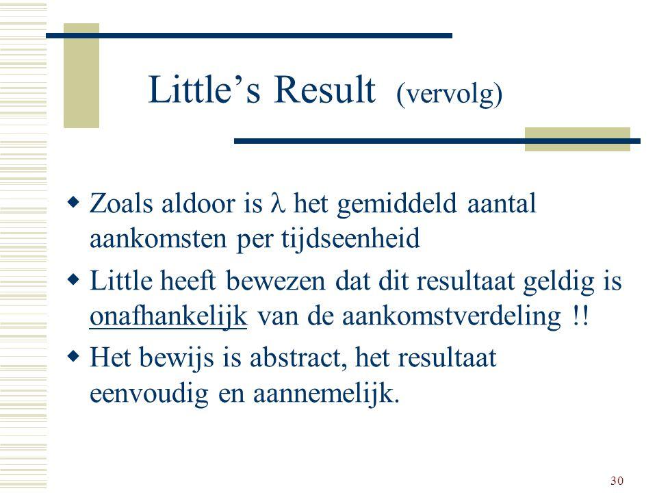 Little's Result (vervolg)