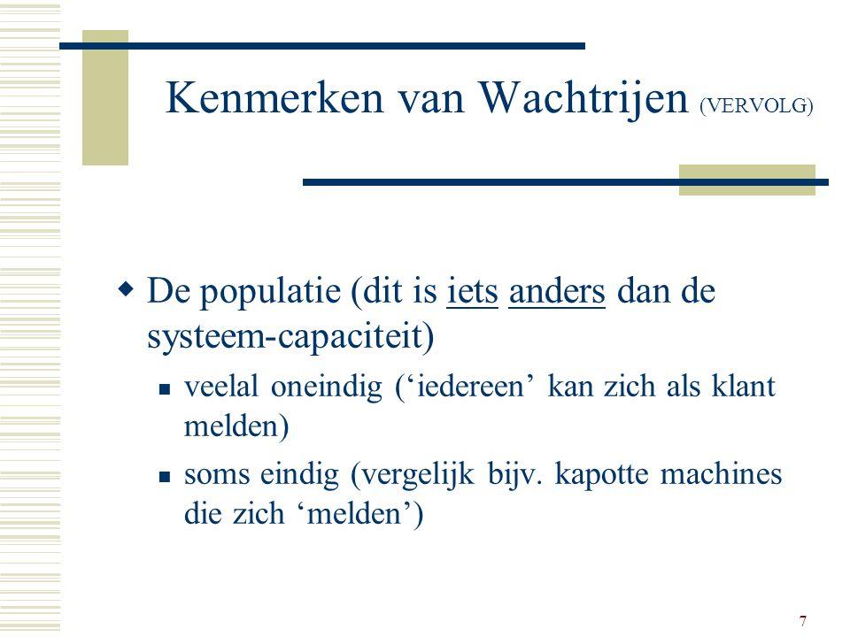 Kenmerken van Wachtrijen (VERVOLG)
