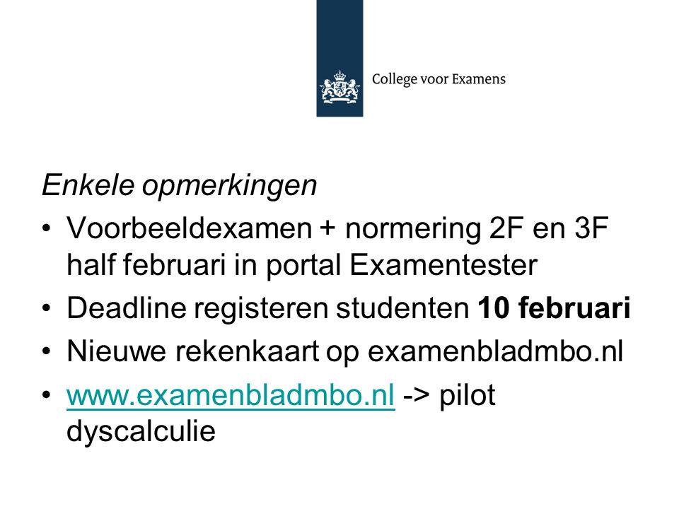 Enkele opmerkingen Voorbeeldexamen + normering 2F en 3F half februari in portal Examentester. Deadline registeren studenten 10 februari.