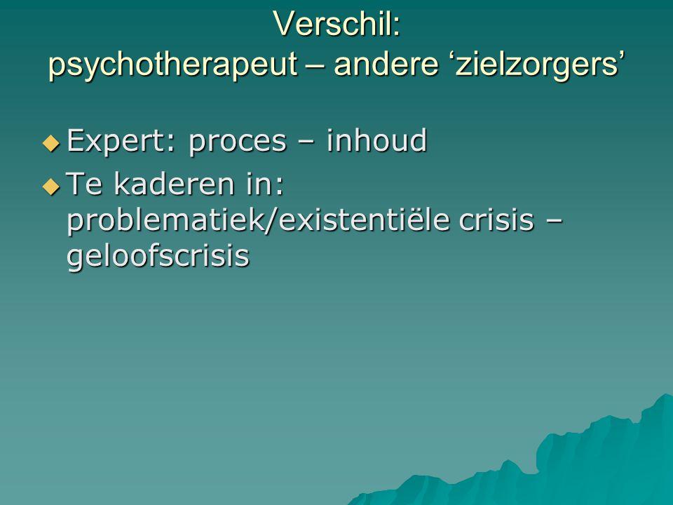 Verschil: psychotherapeut – andere 'zielzorgers'