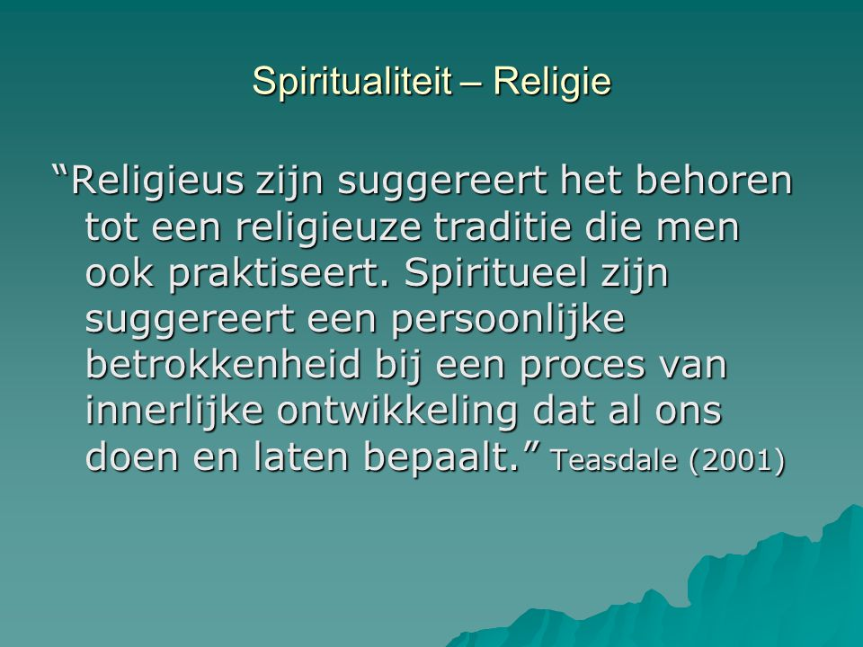 Spiritualiteit – Religie