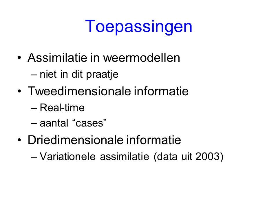 Toepassingen Assimilatie in weermodellen Tweedimensionale informatie