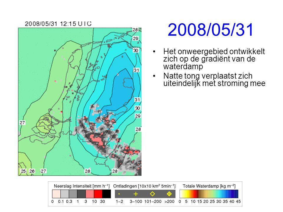 2008/05/31 Het onweergebied ontwikkelt zich op de gradiënt van de waterdamp.