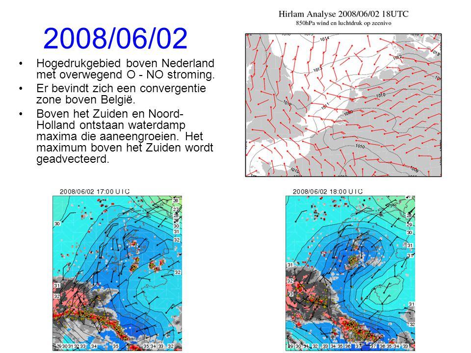 2008/06/02 Hogedrukgebied boven Nederland met overwegend O - NO stroming. Er bevindt zich een convergentie zone boven België.