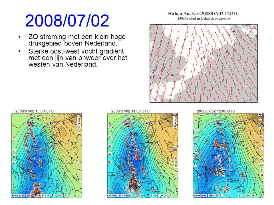 2008/07/02 ZO stroming met een klein hoge drukgebied boven Nederland.