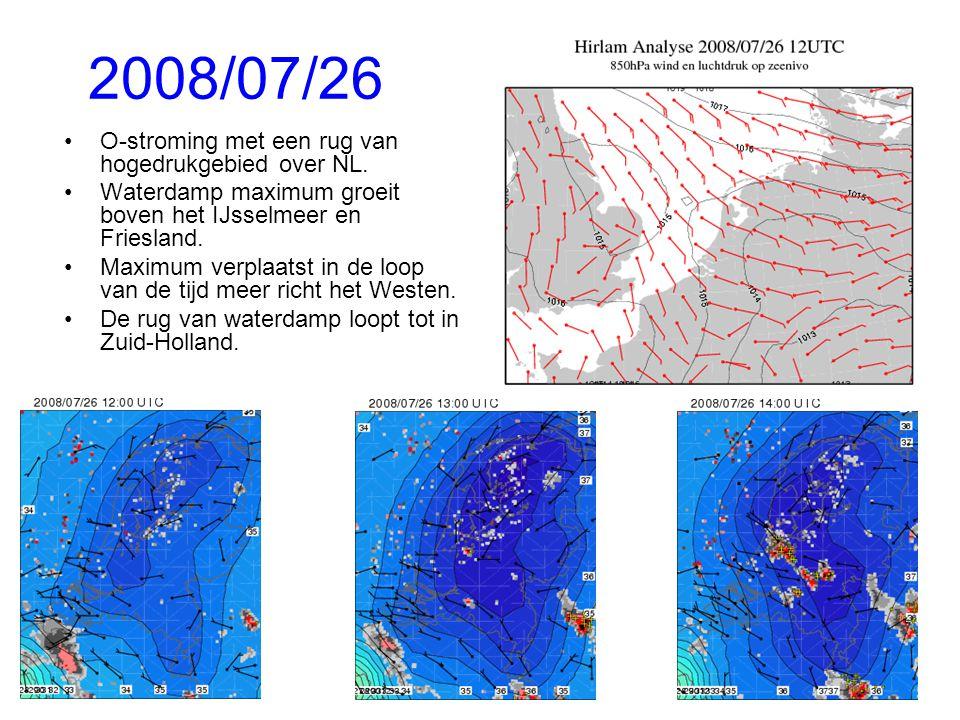 2008/07/26 O-stroming met een rug van hogedrukgebied over NL.