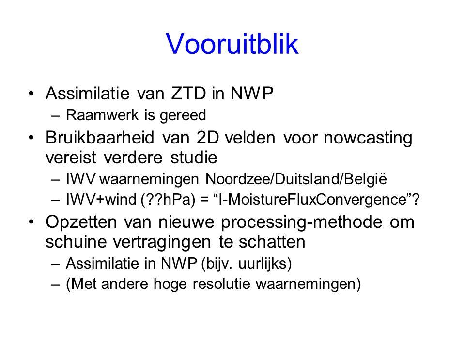 Vooruitblik Assimilatie van ZTD in NWP