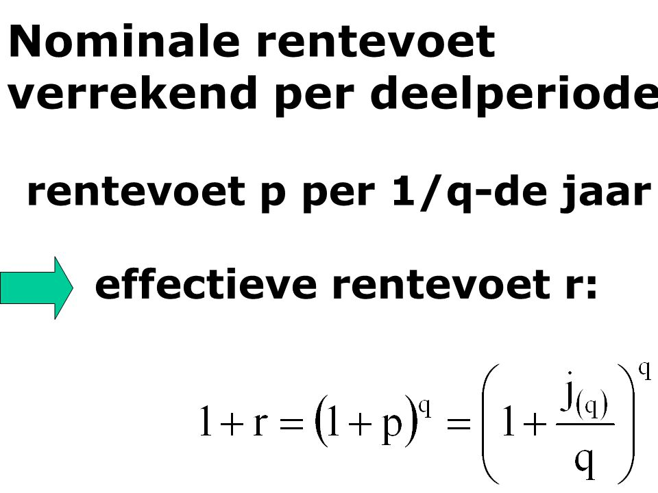 Nominale rentevoet verrekend per deelperiode