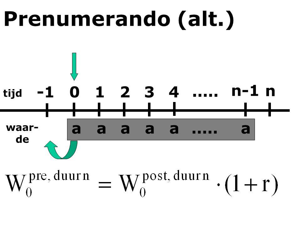 Prenumerando (alt.) -1 1 2 3 4 ..... n-1 n a a a a a ..... a tijd