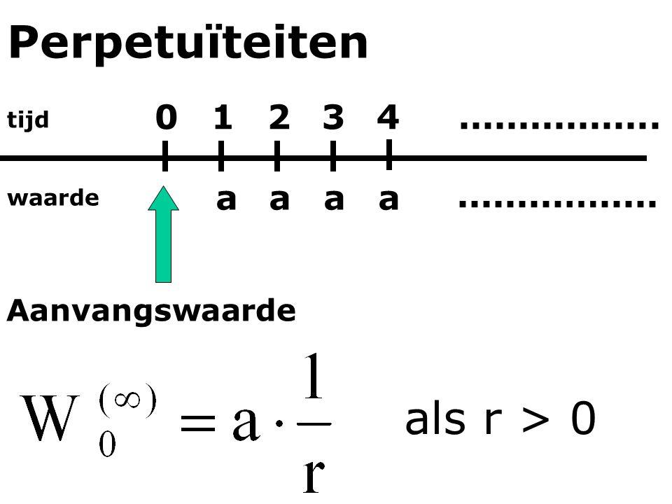 Perpetuïteiten als r > 0 1 2 3 4 ................. a a a a