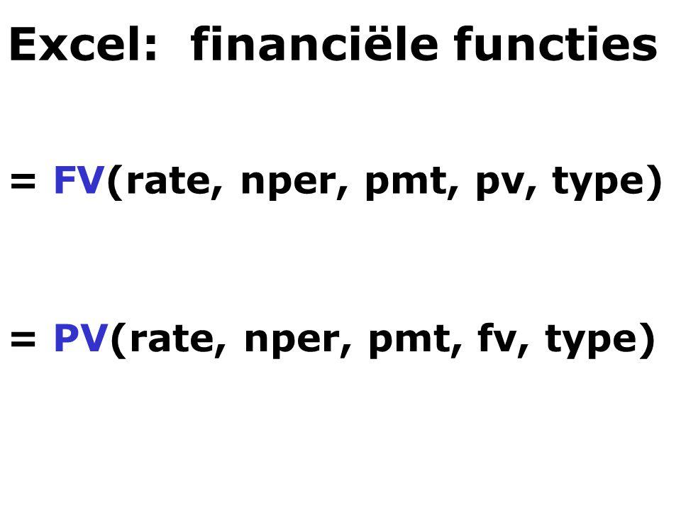 Excel: financiële functies