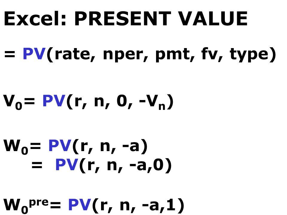 Excel: PRESENT VALUE = PV(rate, nper, pmt, fv, type)