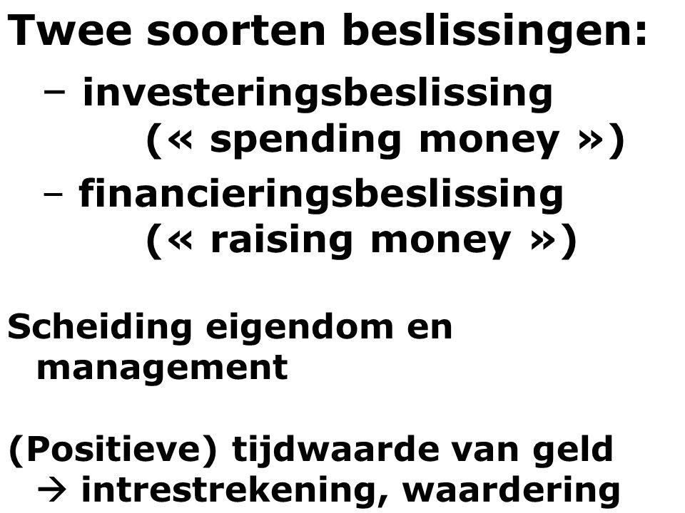 Twee soorten beslissingen: investeringsbeslissing (« spending money »)