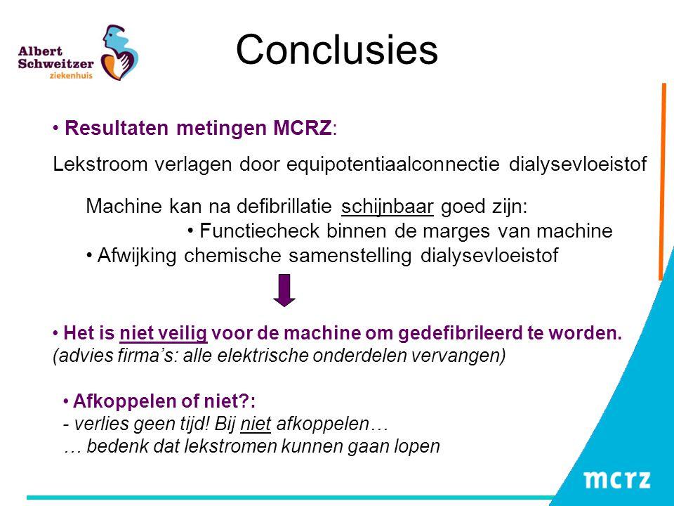 Conclusies Resultaten metingen MCRZ: