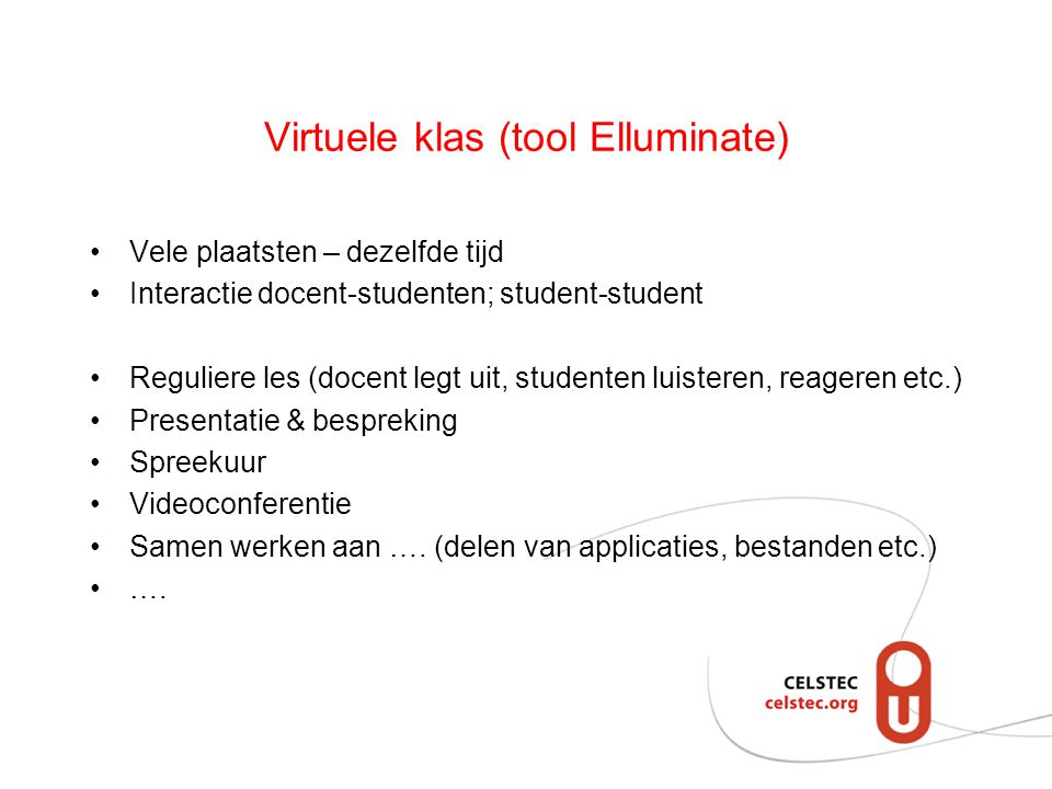 Virtuele klas (tool Elluminate)