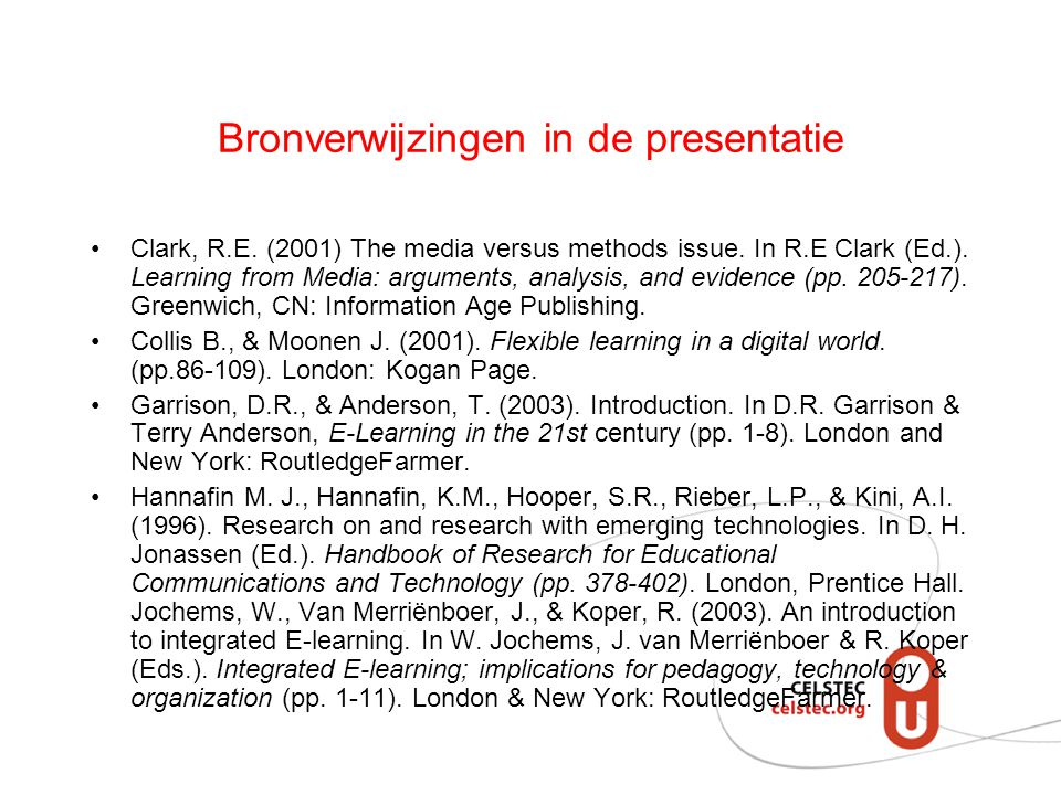 Bronverwijzingen in de presentatie