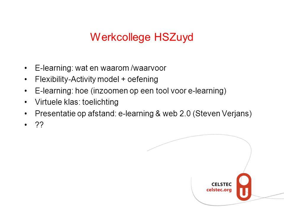 Werkcollege HSZuyd E-learning: wat en waarom /waarvoor