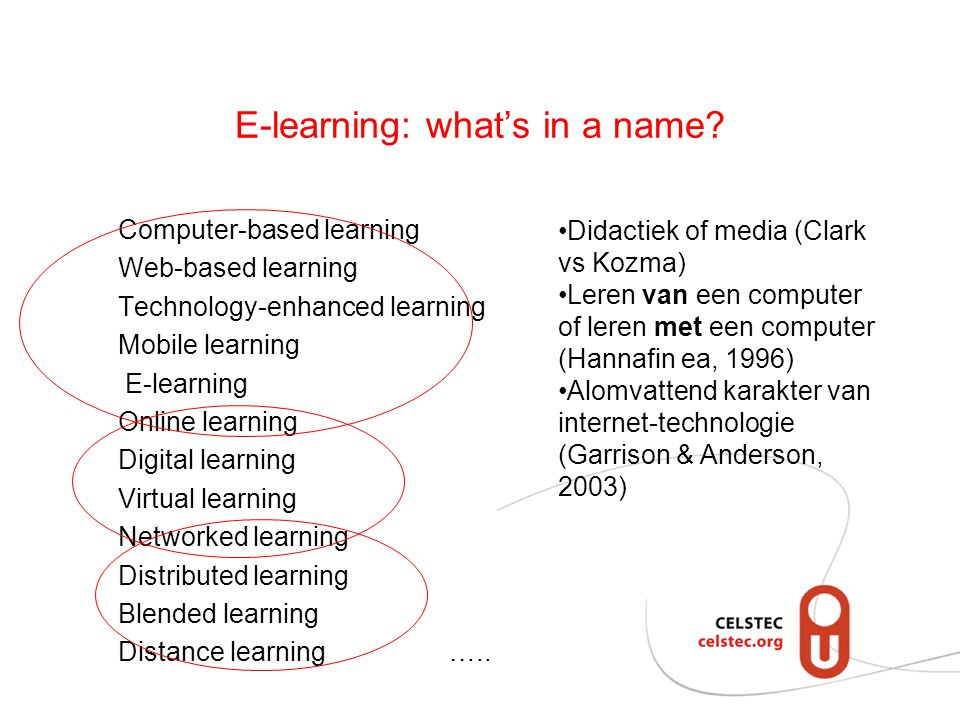 E-learning: what's in a name