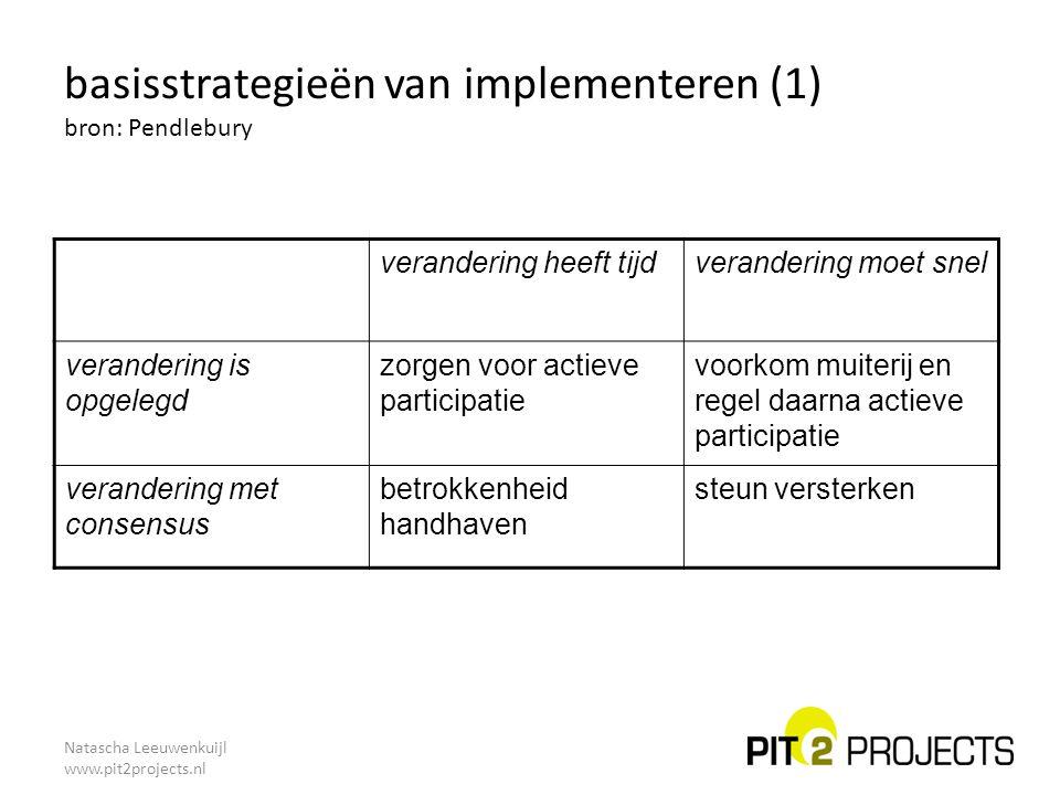 basisstrategieën van implementeren (1) bron: Pendlebury