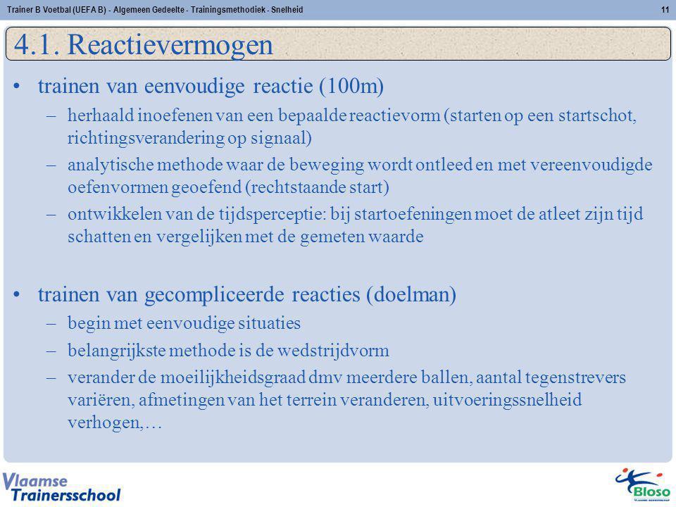4.1. Reactievermogen trainen van eenvoudige reactie (100m)