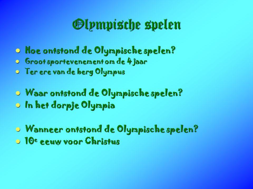 Olympische spelen Hoe ontstond de Olympische spelen