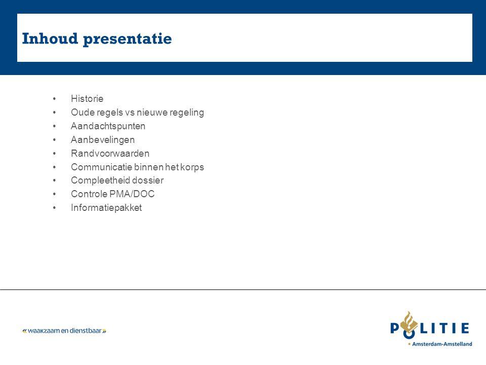 Inhoud presentatie Historie Oude regels vs nieuwe regeling