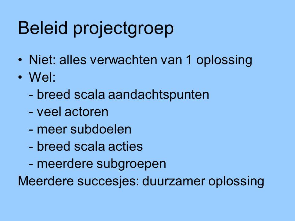 Beleid projectgroep Niet: alles verwachten van 1 oplossing Wel: