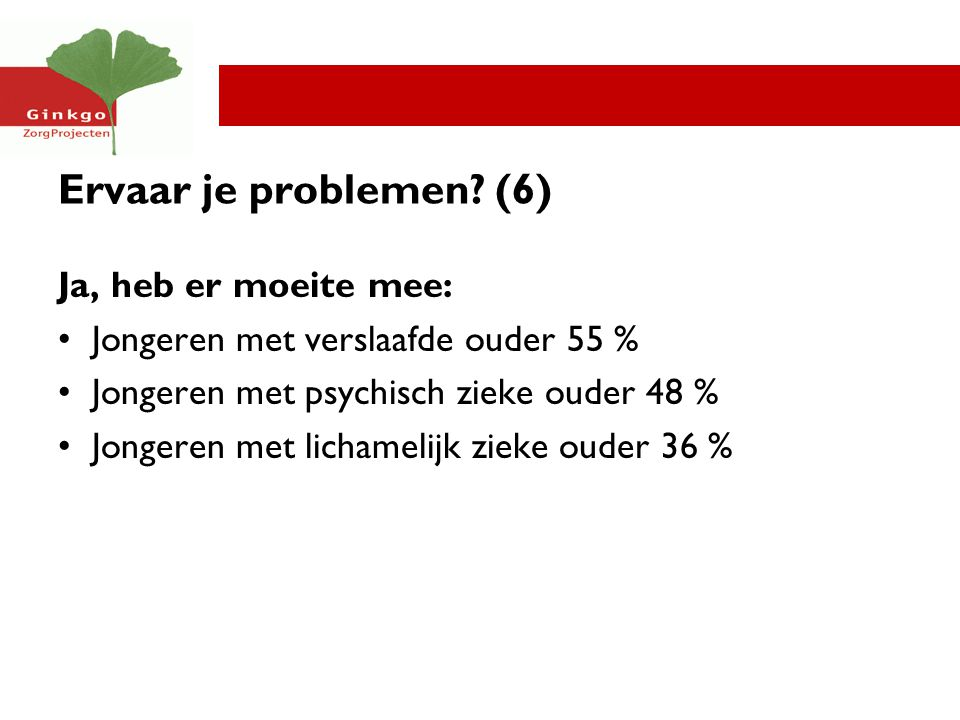 Ervaar je problemen (6) Ja, heb er moeite mee: