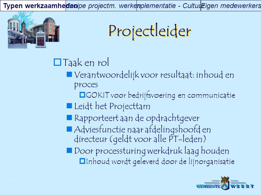 Projectleider Taak en rol