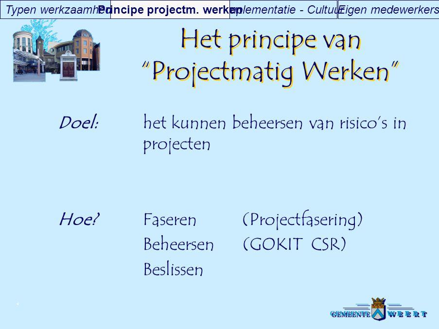 Het principe van Projectmatig Werken