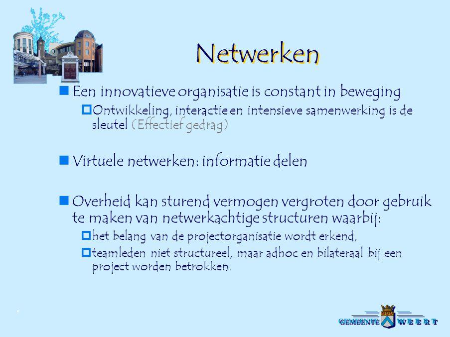 Netwerken Een innovatieve organisatie is constant in beweging