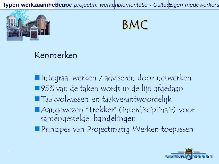 BMC Kenmerken Integraal werken / adviseren door netwerken
