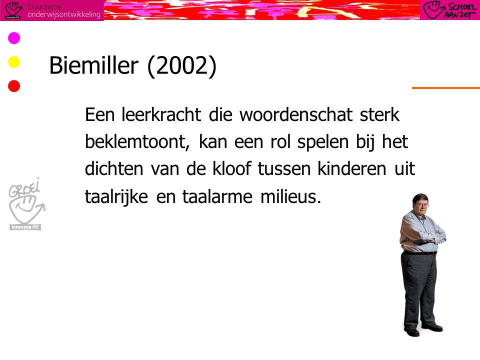 Biemiller (2002) Een leerkracht die woordenschat sterk