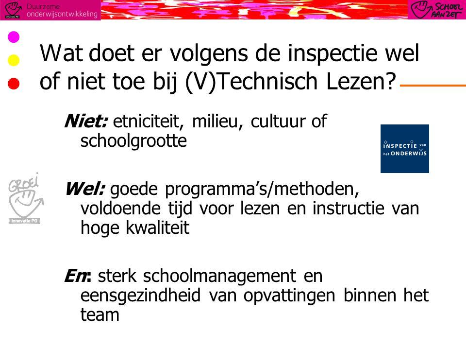 Wat doet er volgens de inspectie wel of niet toe bij (V)Technisch Lezen