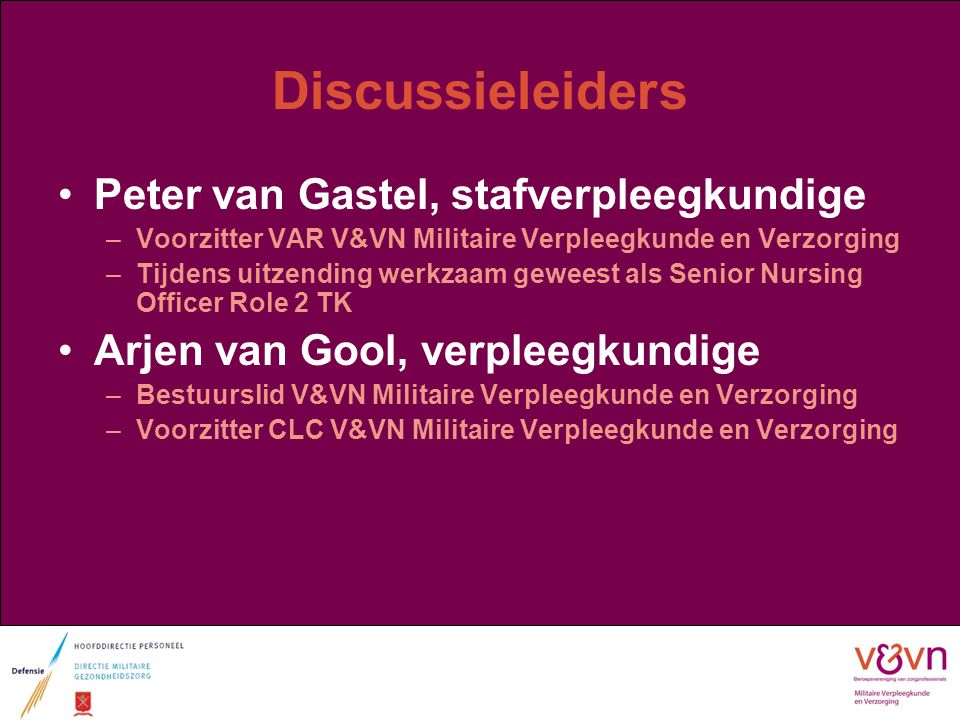 Discussieleiders Peter van Gastel, stafverpleegkundige