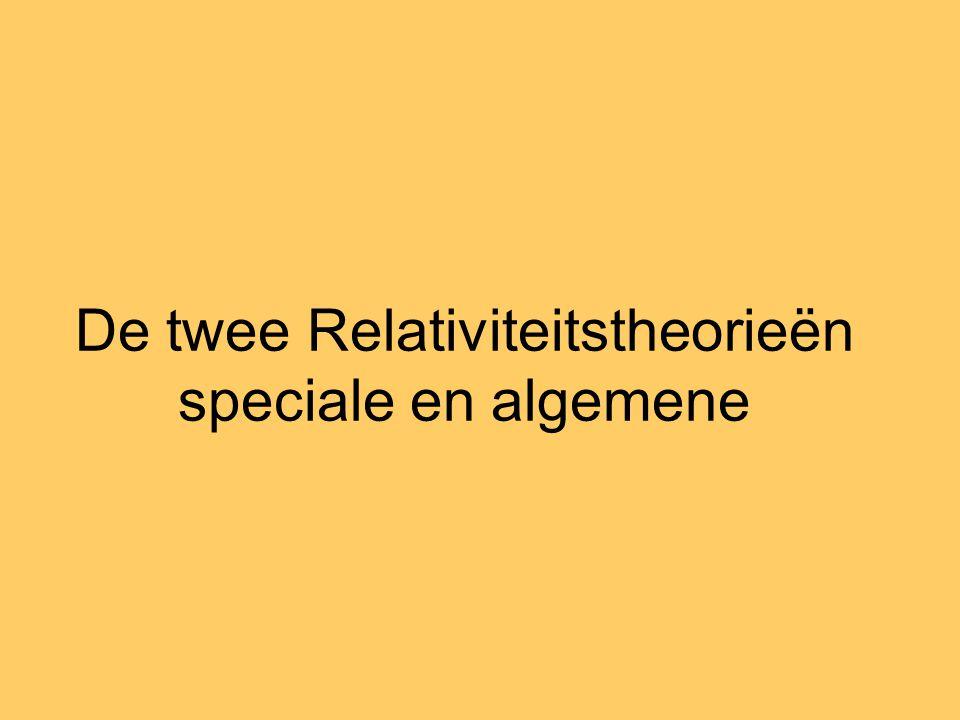 De twee Relativiteitstheorieën speciale en algemene