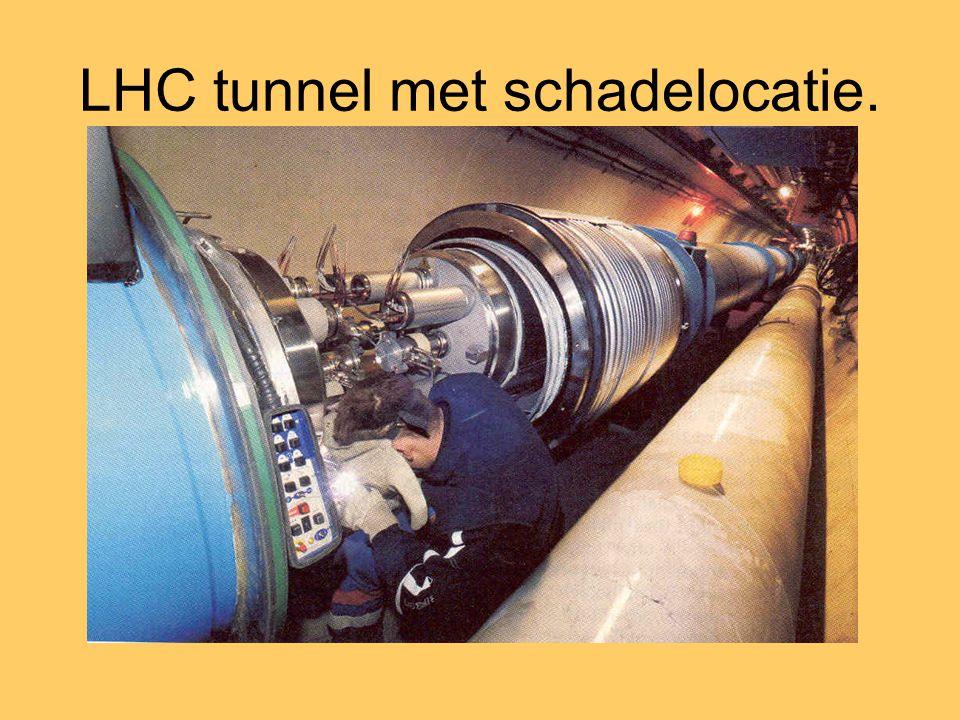 LHC tunnel met schadelocatie.