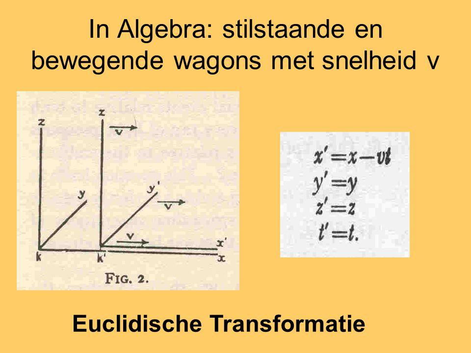 In Algebra: stilstaande en bewegende wagons met snelheid v