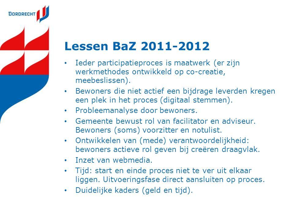Lessen BaZ 2011-2012 Ieder participatieproces is maatwerk (er zijn werkmethodes ontwikkeld op co-creatie, meebeslissen).