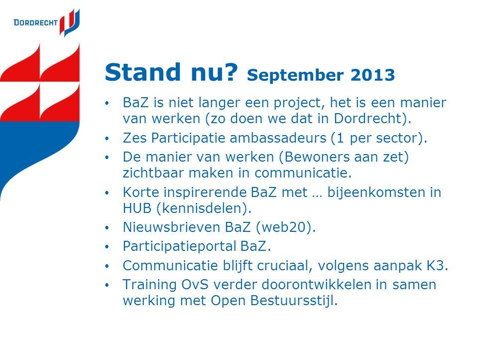 Stand nu September 2013 BaZ is niet langer een project, het is een manier van werken (zo doen we dat in Dordrecht).