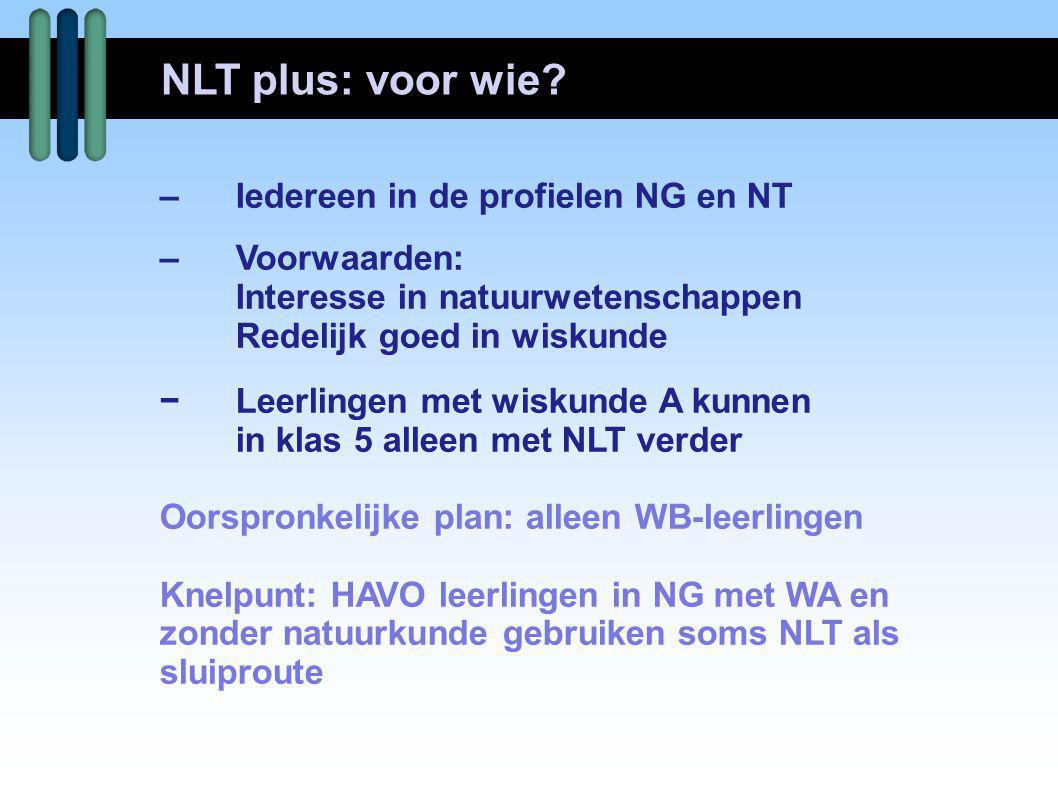 NLT plus: voor wie – Iedereen in de profielen NG en NT – Voorwaarden: